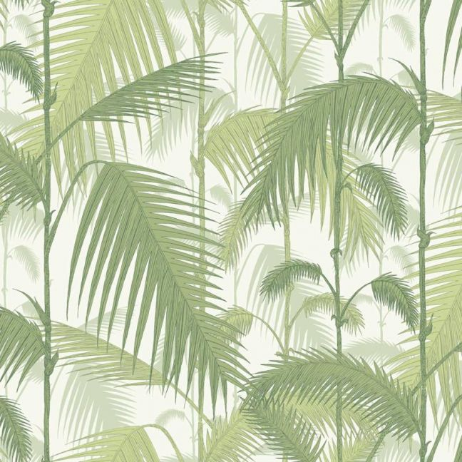 Palm Jungle wallpaper - Olive Green on White