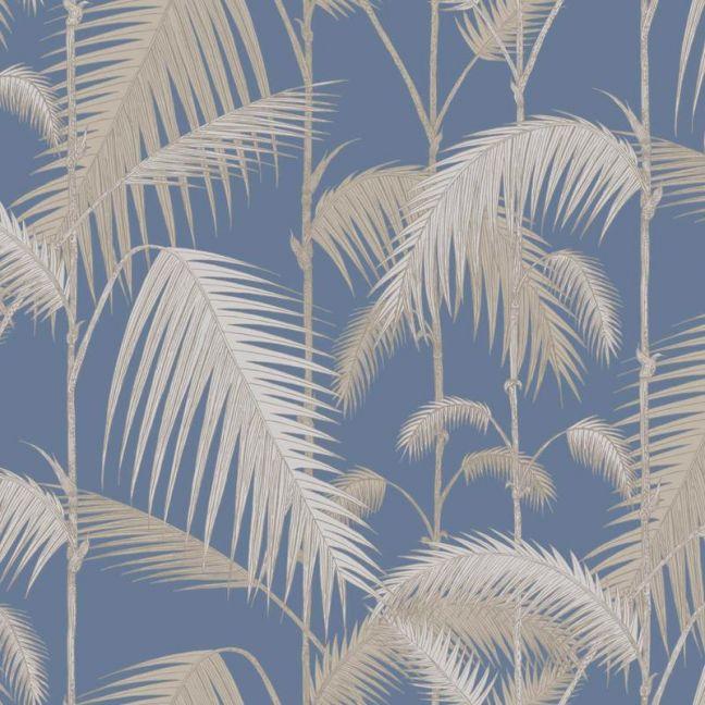 Palm Jungle wallpaper - Straw & Blue