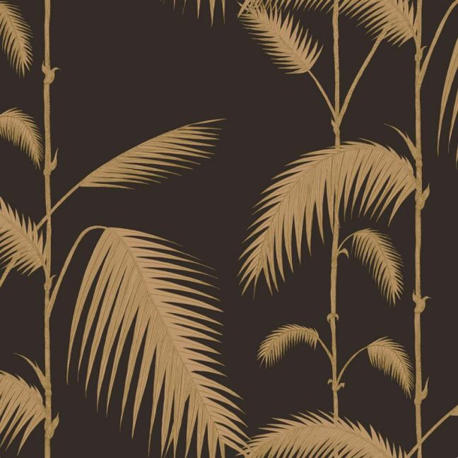 Palm Leaves Wallpaper - Gold on Black