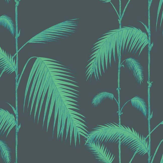 Palm Leaves Wallpaper - Green on Black