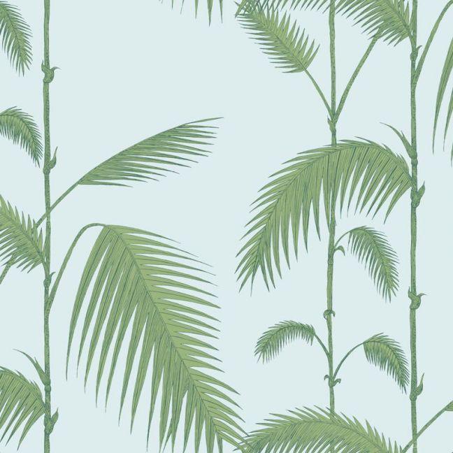 Palm Leaves Wallpaper - Green on Blue