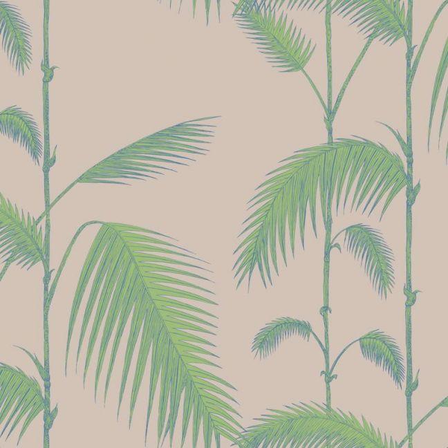 Palm Leaves Wallpaper - Green on Linen