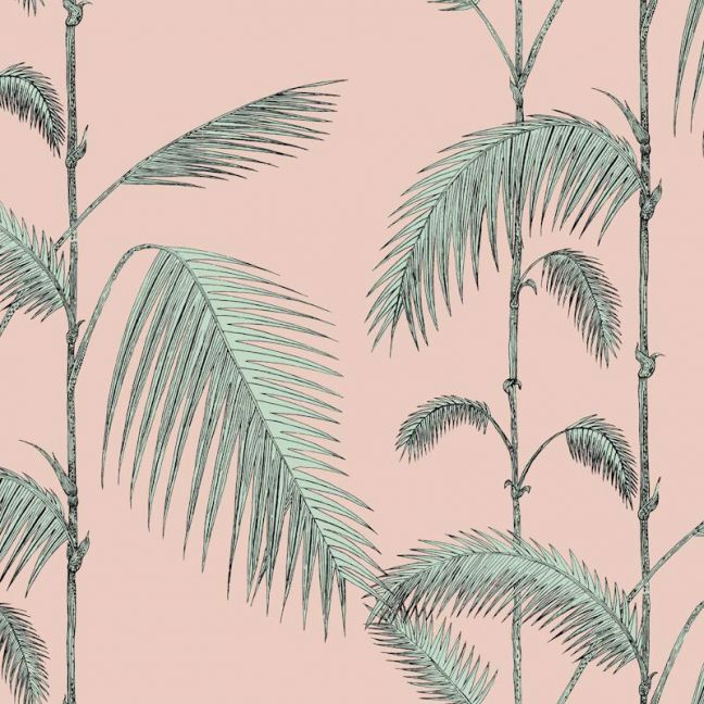 Palm Leaves Wallpaper - Mint on Pink