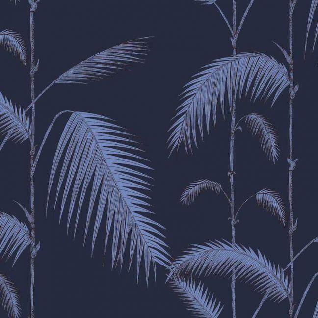 Palm Leaves Wallpaper - Violet on Ink