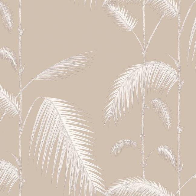 Palm Leaves Wallpaper - White on Linen