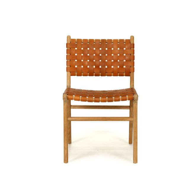 Pasadena Woven Leather Side Chair   Tan