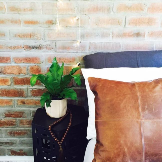 Patched Tan Leather   Cushion Cover by Brodie & Co