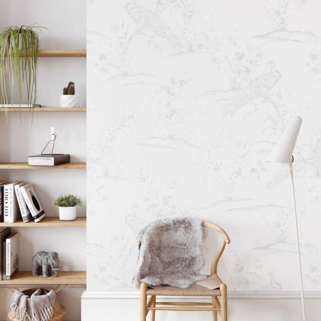 Peacocks   Light Sage   Wallpaper
