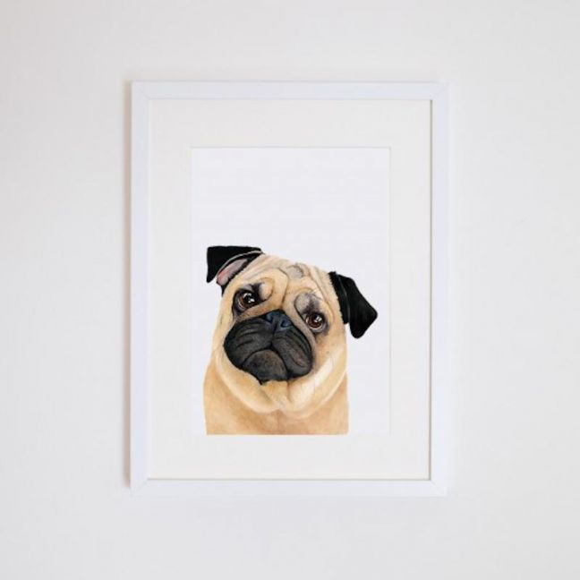 Pedro the Pug   Giclee Print   by For Me By Dee