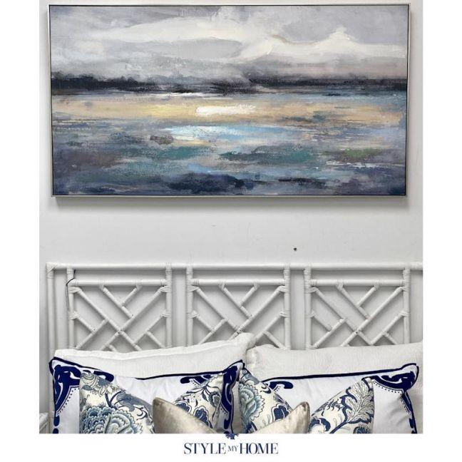 'Peninsula Seascape' Canvas in Antique Silver Frame