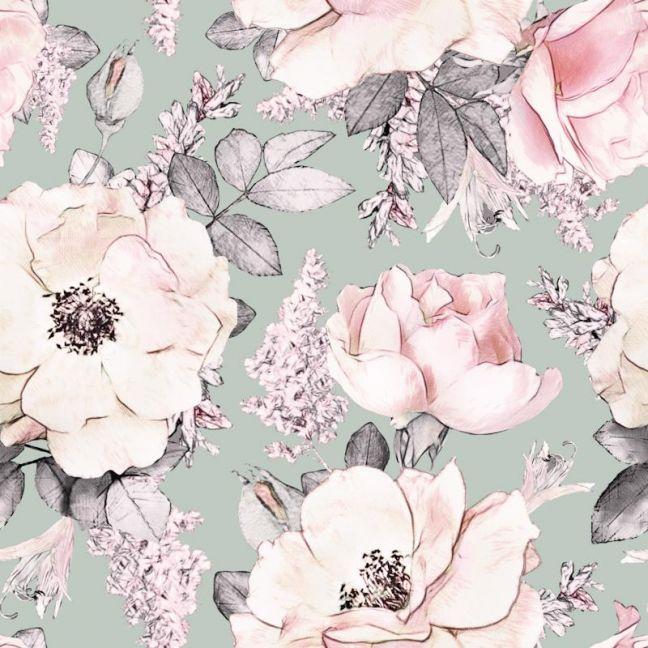 Peony Garden Sage Wallpaper