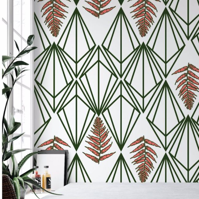 Phoebe - Nature's Glamour | Eco Wallpaper | Phoebe Coral Green | Amba Florette