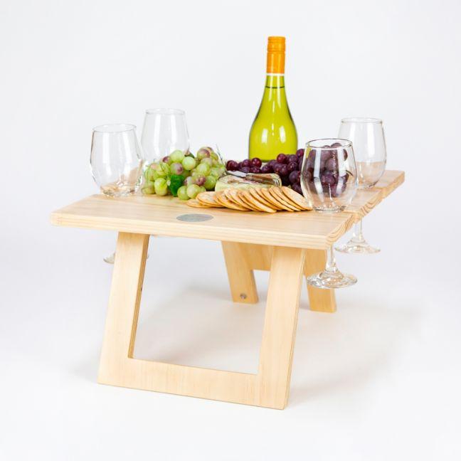 Pine Folding Wine Table - 4 Glass