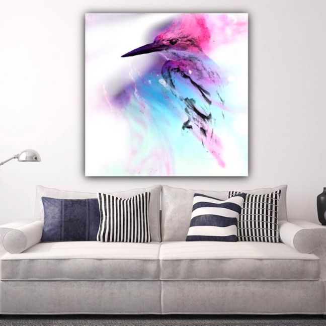 Pink and Blue Birdie | Canvas Print | Antuanelle