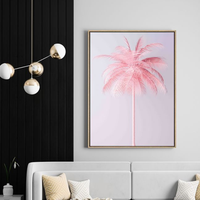 Pink Palm | Drop Shadow Framed Wall Art