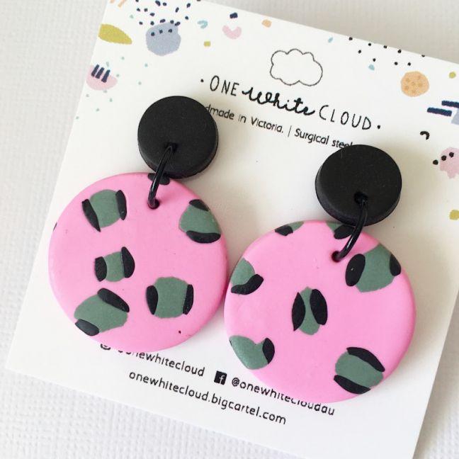 Pink & Sage Animal Print Earrings by One White Cloud