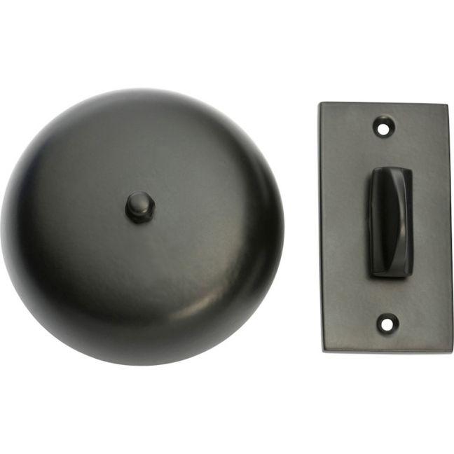 Plain Mechanical Door Bell Set | Matt Black | Schots