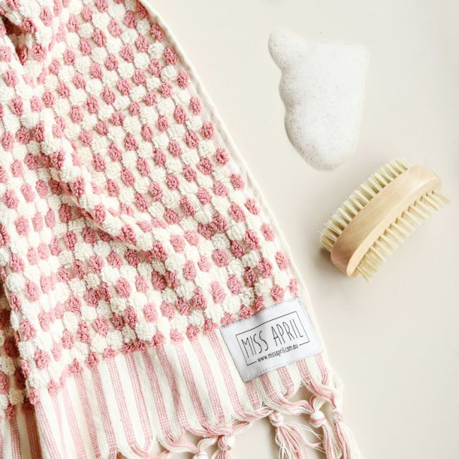 Pom Pom Turkish Bath Towel | Pale Pink