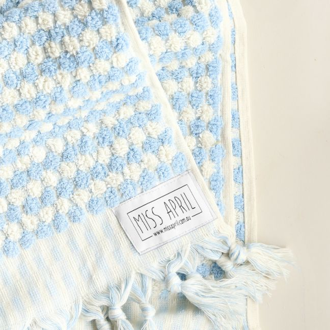 Pom Pom Turkish Hand Towel | Pale Blue