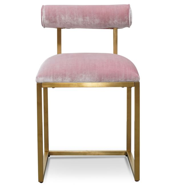 Prato Dining Chair In Pink Velvet | Brushed Gold Base