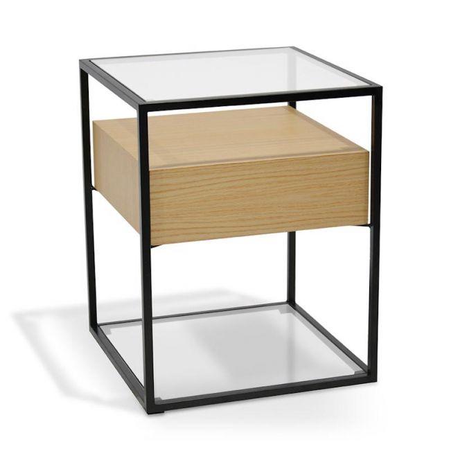 Prologue Bedside Table   Natural Oak & Black Frame   CLU Living