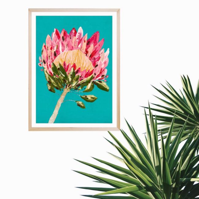 Protea Party | Turquoise | Art Print by Grotti Lotti