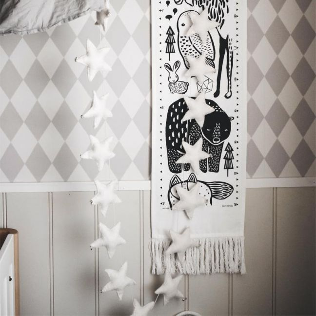 Puffy Star Chimes Garland | Ivory