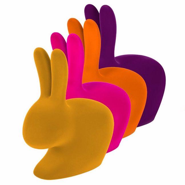 Qeeboo Rabbit Chair Velvet Finish