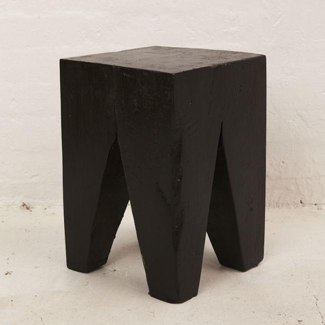 Rafi Peg Stool   Side Table in Black l Pre Order