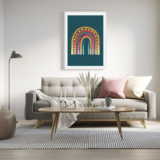 Rainbow Warrior in Sunset Teal Art Print by Pick a Pear | Unframed