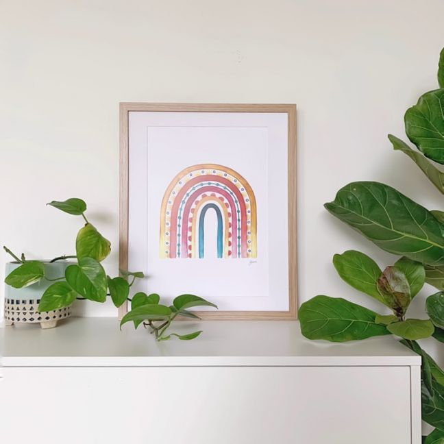Rainbow Warrior in Sunset White Art Print by Pick a Pear | Unframed