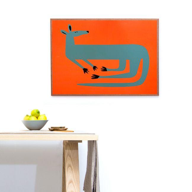 Reclining Roo Silkscreen Print | Blue on Orange Background