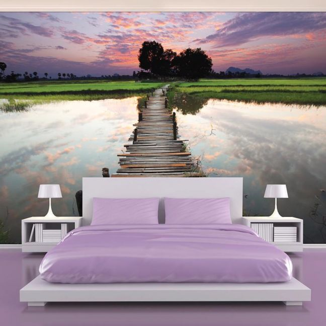 Reflection Jetty - Pink | Full Wall Mural