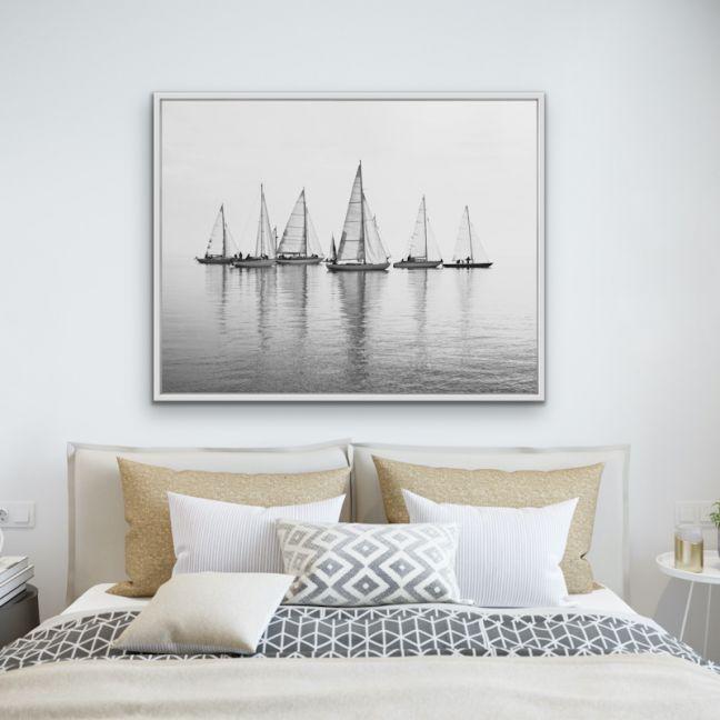 Regatta | Black & White | Hamptons Coastal Canvas Art Print