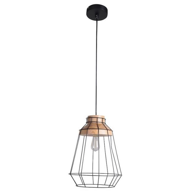 Reuben Large Pendant in Ash/Black | By Beacon Lighting