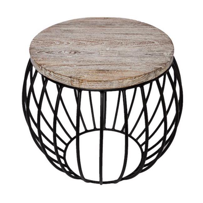 Round Side Table | Teak Matte Black