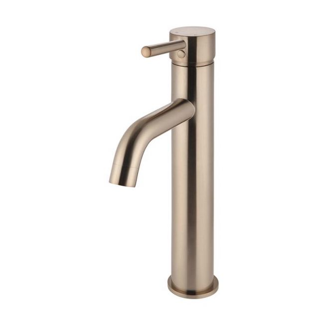 Round Tall Champagne Basin Mixer with curved spout
