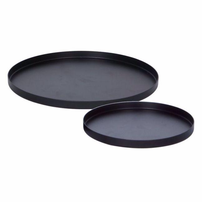 Round Tray Set of 2 | Black Brass Silver | By Zakkia