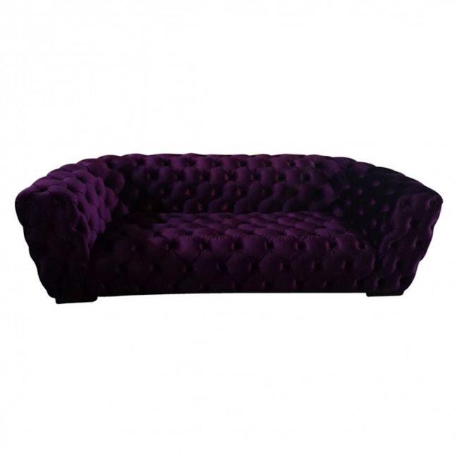 Roundback Plush Purple Velvet Chesterfield 3 Seater Lounge | Various Colours
