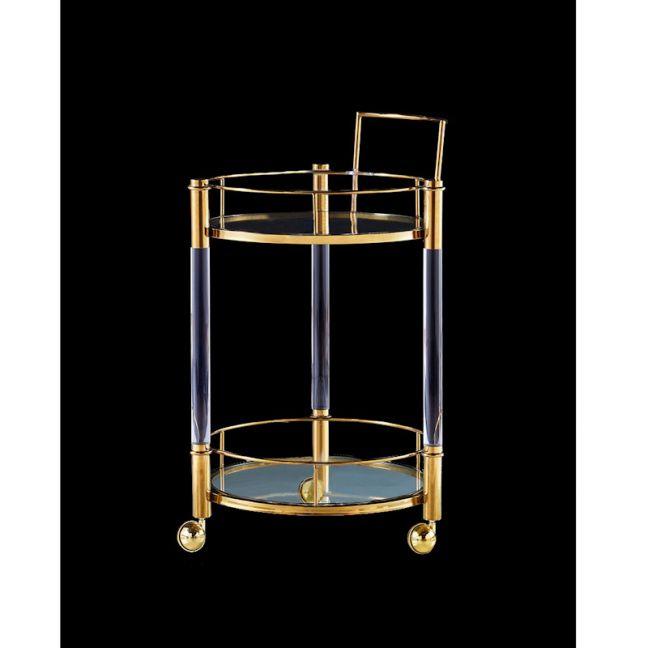 Roundup Lucite Acrylic Round Bar Cart