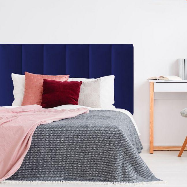 Royal Blue Velvet Panelled Upholstered Bedhead   All Sizes   Custom Made by Martini Furniture