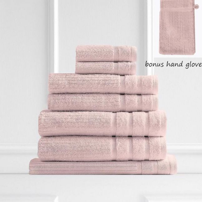Royal Comfort Eden 600GSM 100% Egyptian Cotton 8 Piece Towel Pack | Blush