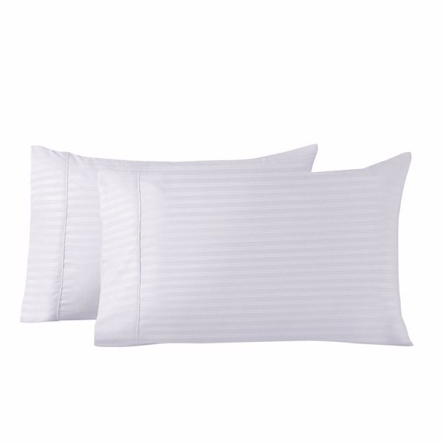 Royal Comfort Striped Bamboo Blend Pillowcase Twin Pack | Various Colours