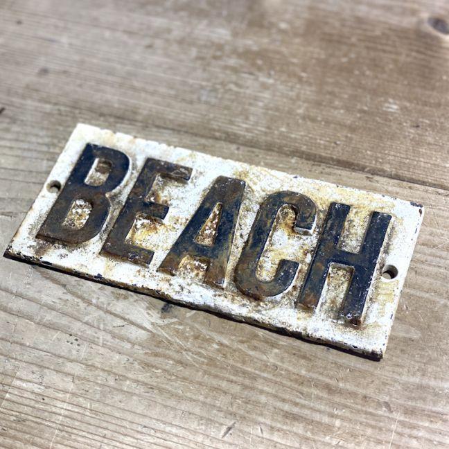 Rustic Cast Iron Beach Sign