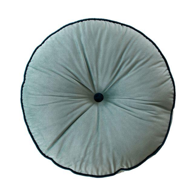Sage Green Circle Velvet Cushion