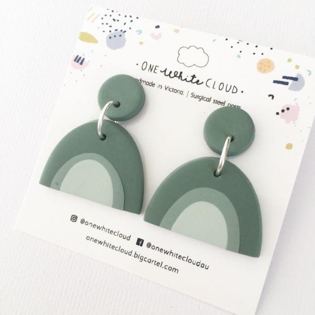 Sage Rainbow Earrings by One White Cloud