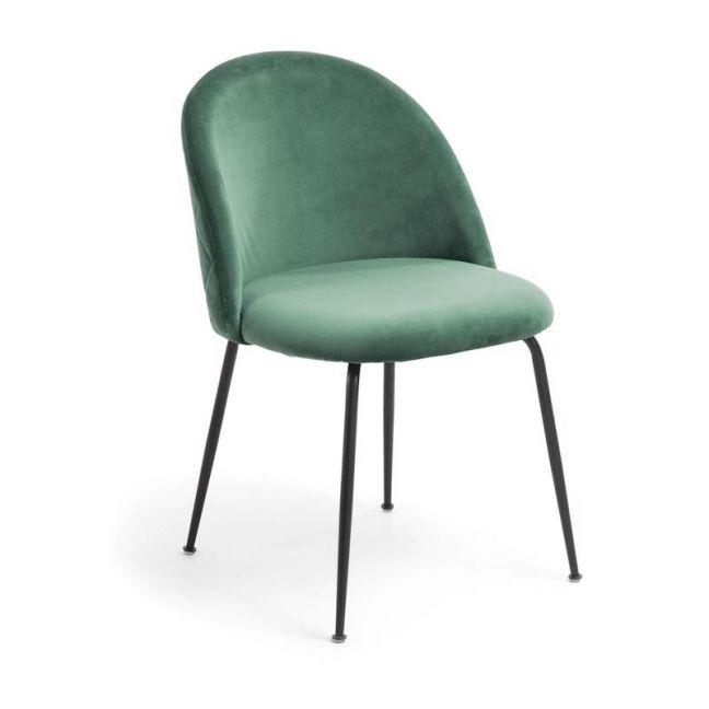 Sanari Velvet Chair   Emerald Green with Black Legs
