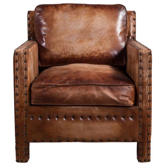 Scabrous Distressed Brown Leather Armchair | by Cocolea Furniture