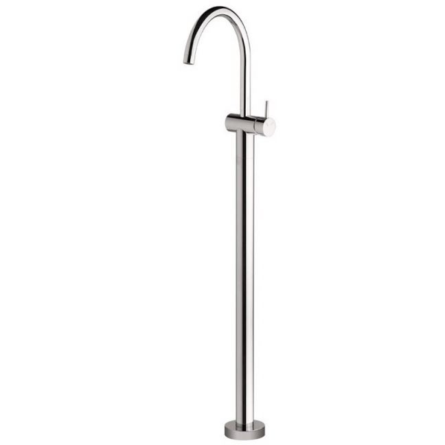Scala Floor Mount Bath Mixer Tap Curved Outlet Chrome