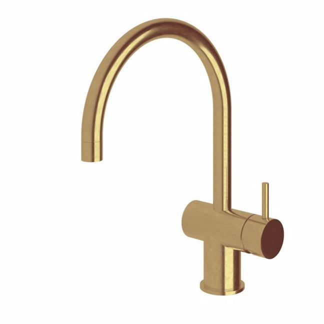 Scala Sink Mixer Tap Large Curved Spout Right Hand Living Tumbled Brass | Reece